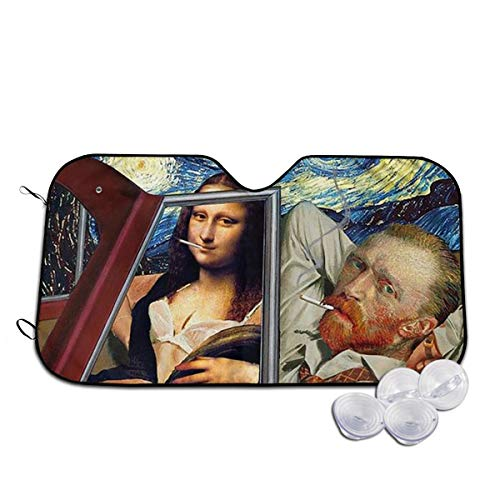 LVeShop Monalisa and Van Gogh Car Windshield Sun Shade - Blocks Uv Rays Sun Visor Protector, Sunshade to Keep Your Vehicle Cool and Damage Free, Easy to Use, Fits Windshields of Various Sizes