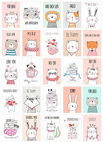 Edition Seidel Set 25 Postkarten niedliche Tiere mit Sprüchen - Karten mit Spruch - Postkarte Geburtstagskarte (20557)