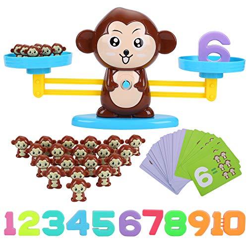 FORMIZON Mathe Waage Spielzeug, AFFE Digital Game Waage Spielzeug, Zählen und Rechnen, Geschicklichkeit Spielzeug Lernspielzeug mit Subtraktion Math Scales Toys (AFFE)