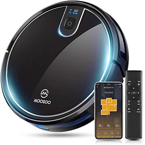 MooSoo Saugroboter WLAN 2100Pa mit Intelligenter Navigation, Alexa& App Steuerung, 120min Akkulaufzeit für 150m², Selbstaufladung, 55dB Lautstärke, für Tierhaare, Teppiche, Hartböden - MT710