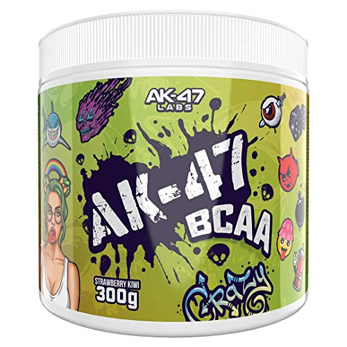 AK 47 Labs BCAA Powder | Sugar Free Branched Chain Amino Acids Supplement with Electrolytes for Recovery & Hydration - 300g / 30 Servings - 7.5g BCAAs for Men & Women | Strawberry Kiwi