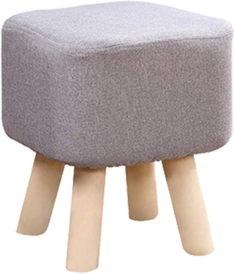 MUYUNXI Tabouret Tissu Mode Enfant Moderne en Bois Tabouret Chaise À Quatre Pieds Seat Square 4 Choix De Couleurs (Color : Rose Red) White