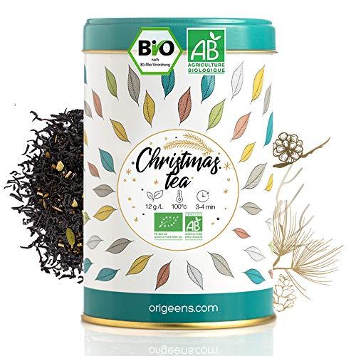 ORIGEENS TE DE NAVIDAD ECOLÓGICO 125g | Té Negro Ecológico con especias, para Te Chai Latte | Té de Navidad con especias, té en granel | Idea para Regalar