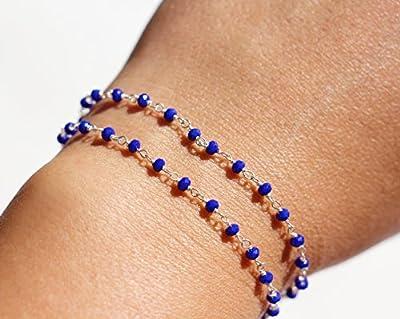Bracelet chapelet - bracelet double tours - bracelet argent 925 - bracelet pierres calcédoine bleu électrique - bracelet pierres fines bleu - collier choker ras du cou