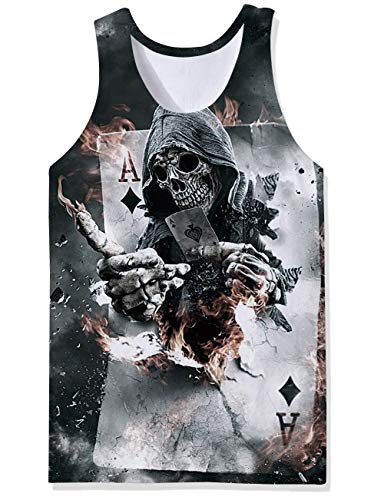 SKYRAINBOW Cool Punisher Tank Tops Flame Skull Pokers Fashion Sportwear Bodybuilding Workout Undershirts Gym Sleeveless Vest for Men Beige
