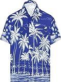 LA LEELA Men's Hawaiian Tropical Beach Fun Palm Casual Button Down Shirts 5XL