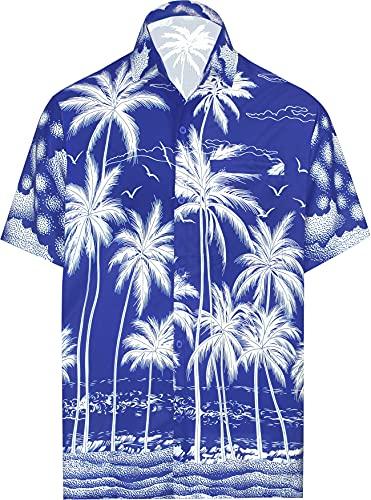 LA LEELA los Hombres botón Casual Hawaiano Tropical Palm Beach de Manga Corta Bolsillo Delantero Camisas Azul Real_AA518 2XL
