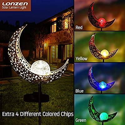 Solar Pathway 5 Colors Lights Outdoor - 2019 Moon Crackle Glass Globe Garden Stake Metal Lights, Led Solar Landscape Lights, Waterproof Auto On/Off Sun Powered Lighting Decorate Yard, Patio