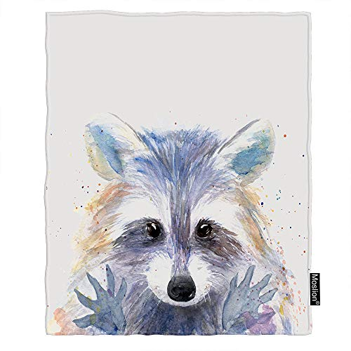 Moslion Throw Blanket Cartoon Raccoon Watercolor Animal Cute Face Hand Drawn Splash Painting Cozy Throw Blanket for Couch Bed Sofa Car Soft Throw Blanket Flannel 30x40 Inch