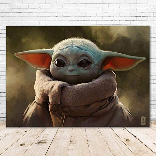 Happy Birthday Baby Yoda Backdrop 7x5 Star Wars Baby Yoda Background for Pictures Vinyl Photo Backdrop Baby Yoda Banner for Kids Party Supplies
