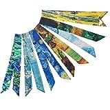 AUHOTA 6 Piezas Moda Bolso de Mano Pañuelo de Seda Atadas Bolsas de la Cabeza, Elegante & Multifunción Pulsera Bufandas Accesorio para el Pelo Hairband Cinta de Bolso Regalo para las Mujeres Niña (A)