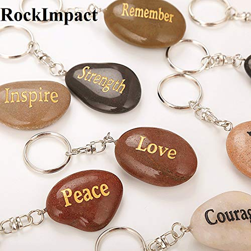 ROCKIMPACT Set of 12, Engraved Inspirational Stones Natural River Rock Keychain Rings, Wholesale Faith Stones, Novelty Healing Stone Key Chain Bulk Lot, Assorted Sayings (12 Different Words)
