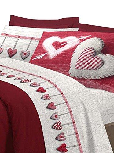 Claire Maison Betttuch und Kissenbezug rot 250 x 300 cm + 2/52 x 82 cm