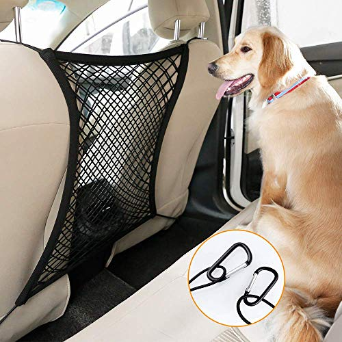 "rabbitgoo Dog Car Net Barrier,13.98"" × 15.55"", Metal Hooks & Stretchable Mesh Obstacle, Back Seat Net Organizer, Design for Pet Disturb Stopper & Storage Pouch, Drive Safely with Children & Pets"