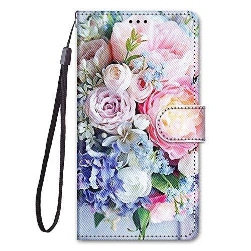 Miagon Full Body Flip PU Leder Schutzhülle für iPhone 12 Pro Max,Bunt Muster Hülle Brieftasche Case Cover Ständer mit Kartenfächer,Rosa Blume