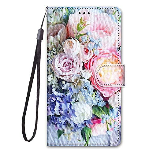 Miagon Full Body Wallet Case for Samsung Galaxy A32 5G,Colorful Pattern Design PU Leather Flip Cover with Magnetic Closure Stand Card Slot,Pink Flower