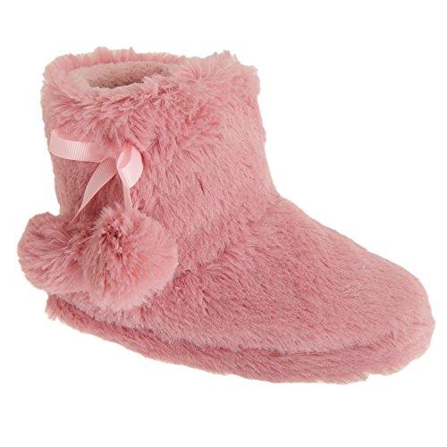 Mädchen Plüsch Hausschuhe mit Bommel Detail (29-31 EU) (Pink)