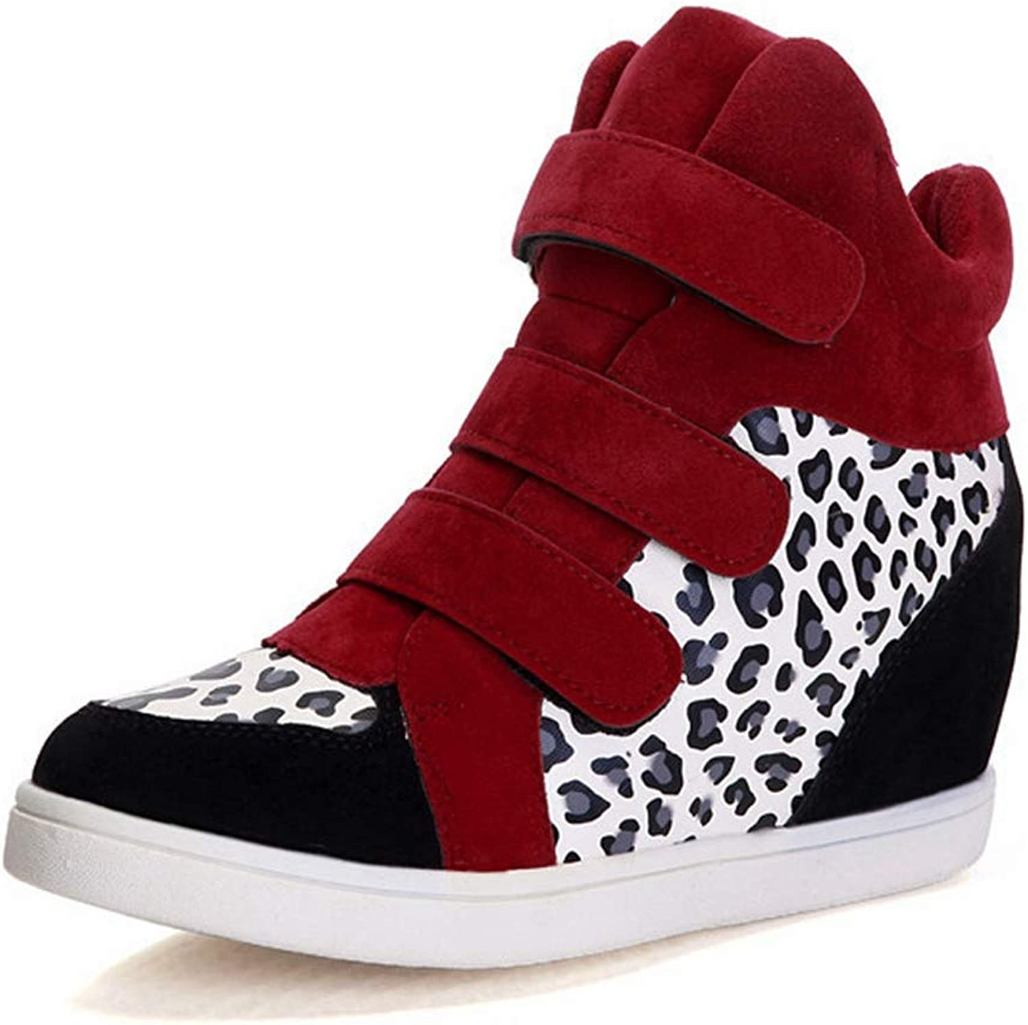CYBLING Womens Hi Top Wedge Sneakers Fashion Leopard Hidden Heel Platform Fitness Trainer Casual shoes