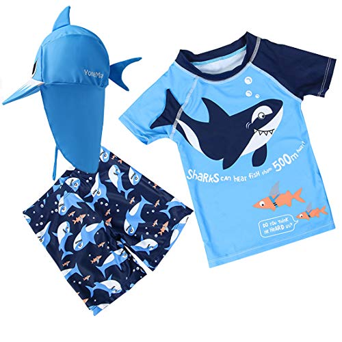 Baby Toddler Boys Two Pieces Swimsuit Set Shark Bathing Suit Rash Guards Swimwear with Hat UPF 50+ (3D Blue Shark, 9-12Months)