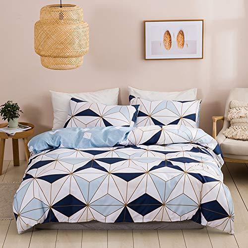 chenyu Juego de ropa de cama de 3 piezas, microfibra, diseño geométrico, funda nórdica de 200 x 200 cm, funda nórdica con cremallera y 2 fundas de almohada de 80 x 80 cm, suave y cómodo, color azul