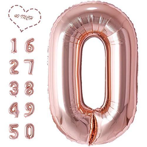 JIALING Folienballon Zahl (0~9) In Rosé Gold Aufblasbar Helium Folienballon 40 Zoll- Folienballons FüR Geburtstag, Hochzeit , JubiläUm Oder Abschluss Geschenk , Party Dekoration(MGJ/0)