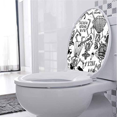 WC-Sitz-Aufkleber, Motiv: Tänzerinnen, Motiv: Frau und Mann, spielt Musik, Schwarz / Weiß, PVC, Multi-01, 33 x 41 cm