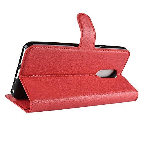 DAMAIJIA für LG Q Stylus+ Hüllen Klapphülle PU Leder Silikon Wallet Schutzhülle Schutz Mobiltelefon Flip Back Cover für LG Q Stylus Plus QStylus LM Q710NAW Tasche Handy Zubehör (red)