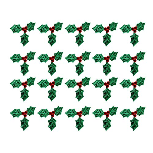 Milisten 100pcs Triple Leaf Holly Berries Embellishments for Christmas Card Making and Gift Tag