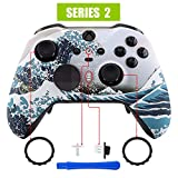 eXtremeRate The Great Wave Patterned Faceplate Cover, Soft Touch Front Housing Shell Case Replacement Kit for Xbox One Elite Series 2 Controller Model 1797 - Thumbstick Accent Rings Included