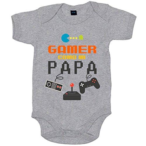 Body bebé Gamer como papá - Gris, 6-12 meses
