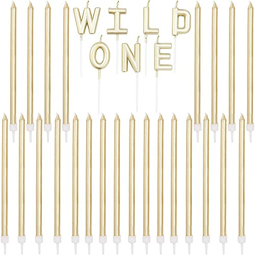 Wild One Birthday Cake Candles with Holders (Gold, 31 Pieces)