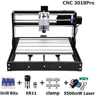 3 Axis CNC 3018 PRO GRBL DIY Mini Engraving Milling Rounter Laser Machine Working Area 30x18x4.5cm + 5500mW 450nW Laser with Goggles