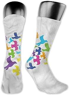 Pattern Socks,Socks Birds Rainbow Color Flight Freedom