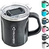 VOLCAROCK Stainless Steel Coffee Mug Cup with Handle, 16 oz Double Wall Vacuum Insulated Travel Mug Tumbler With Clear Slider Lid, Insulated Camping Tea Flask for Hot & Cold Drinks (Black)
