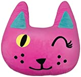 iscream Pinky Winky Kitty Shaped Embroidered Accent 16' x 15.5' Fleece Microbead Pillow