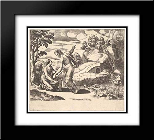 Master of The Die - 22x20 Modern Black Framed and Double Matted Art by Museum Prints Titled: Venus Ordering Psyche to take Water from a Fountain Guarded by Dragons, from 'Fable of Cupd and Psyche'