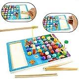 yoptote Juegos de Mesa Juegos Educativos Madera Juegos de Pesca Magnético con Reloj de Arena Regalo Juguetes para Niños Niñas 3 4 5 6 Años
