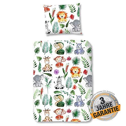 Aminata Kids Kinderbettwäsche Zoo-Tiere 100-x-135 cm bunt Jungen Mädchen Baumwolle mit Reißverschluss, Kinder-Bettwäsche-Set, Safari-Motiv, Dschungel, Giraffe, Elefant, Löwe, AFFE