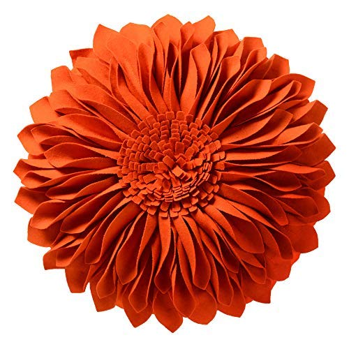 JWH 3D Sunflower Throw Pillow Hand Craft Accent Pillow Round Cushion Cover Decorative Pillowcase with Pillow Insert Home Sofa Bed Living Guest Room Decor Girl Gift 14 Inch Orange