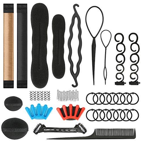 Haare Frisuren Set,49PCS Haar Zubehör styling set,Hair Styling Accessories Kit Set Haar Styling Werkzeug, Mädchen Magic Haar Clip Styling Pads Schaum Hair Styling tools für DIY