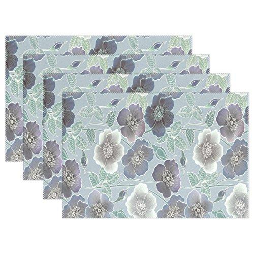 Use7 Tischset mit Mohnblumen, Shabby Chic, 30,5 x 45,7 cm, Polyester, Tischset für Küche und Esszimmer, 6 Stück