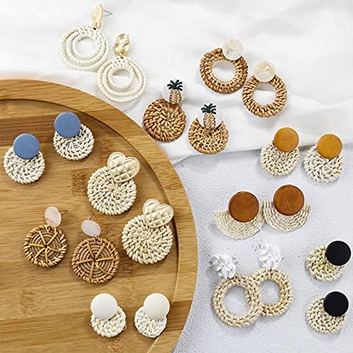 Pendientes de Gota de Vid de Punto con Tejido de Paja de ratán geométrico Hecho a Mano Bohemio para Mujer, Pendiente de Madera de Corea, joyería