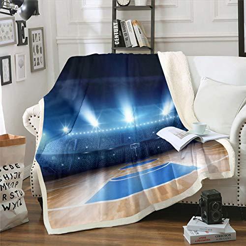 Manta de baloncesto 3D Sherpa para niños, adolescentes y hombres, diseño de pelota de felpa, para sofá cama, sofá cama individual de 50 x 60 pulgadas