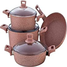 ALBERTO 7-Piece Granite Series Cookware Set Beige/Brown