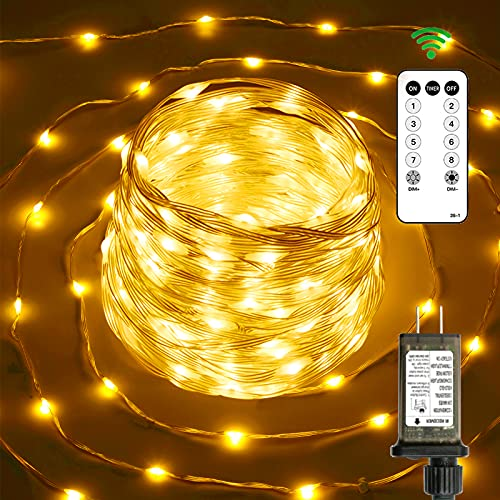 Upgraded Led Fairy String Lights 76ft 200 Led Outdoor Lights String Waterproof 8 Modes Clear Wire Warm White Christmas Lights Remote Control Twinkle Lights Plug in Outside