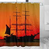 Martinique Shower Curtain Travel Bathroom Decor Set with Hooks Polyester 72x72Inch(YL-03825)