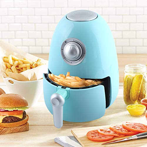 Kitchen Academy Compact Air Fryer 1.8 QT with Cookbook, Electric Air Fryer Oven Cooker with Temperature Control, Non Stick Fry Basket Aqua Blue