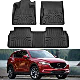 MotorFansClub Floor Mats Liners Fit for Compatible with Mazda CX5 CX-5 2017 2018 2019 2020 Cargo Carpet All Weather Protector Front Rear Mats TPE Black
