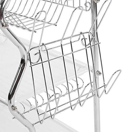 3 Niveles Hogar Cocina Plato Plato Tazón Taza Escurridor Escurridor Soporte para Cubiertos Organizador de Metal - s9