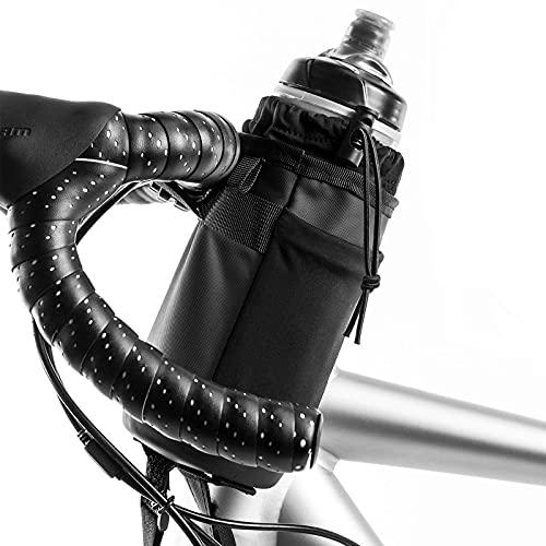 XPUING Bolsa de Soporte para Botella de Agua para Bicicleta,Soporte para Bebida para Manillar de Bicicleta,Soporte para Botella de Agua con vástago Aislado,para Ciclismo Cámping (Con bandolera)